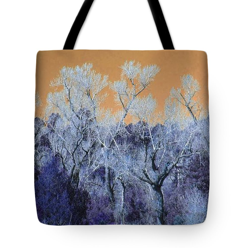 Modern Art Tote Bag featuring the photograph Blue Trees New Mexico by Dori Basilius