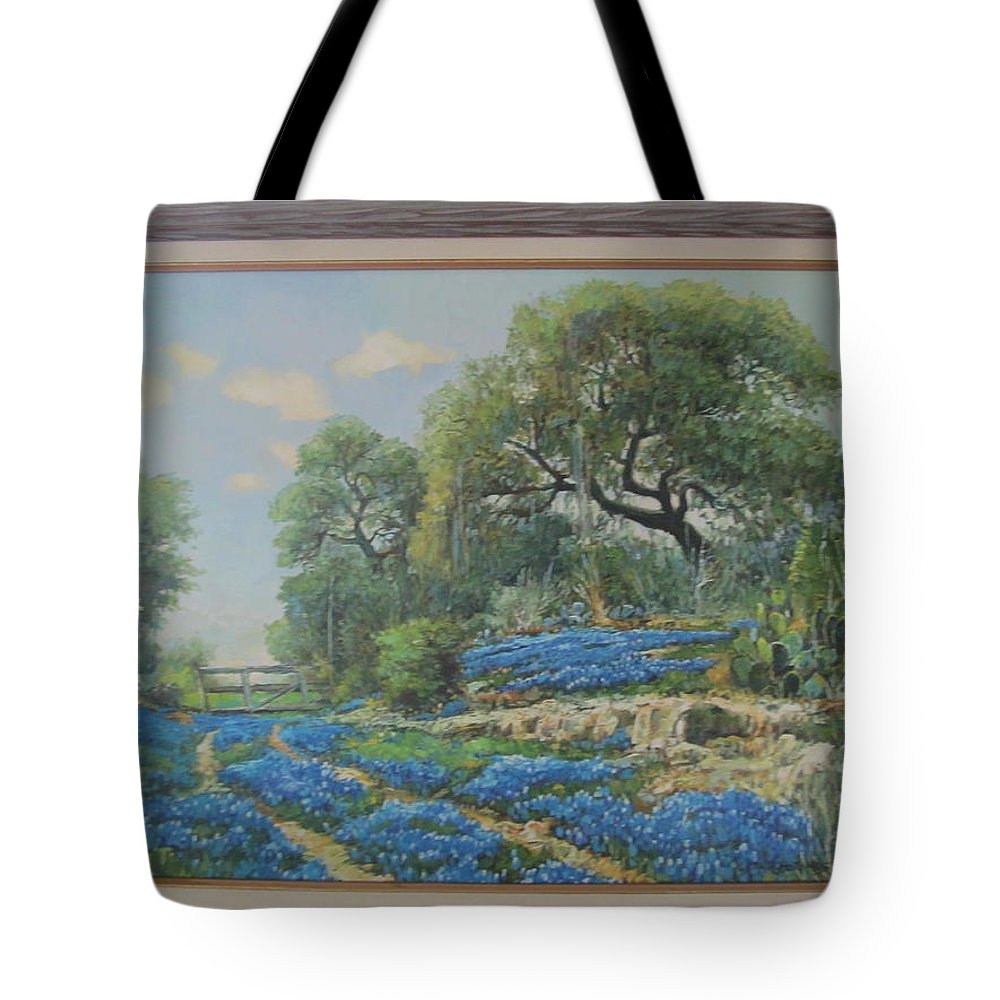 Tote Bag featuring the painting Blue Wildfowers by Tina M Wenger