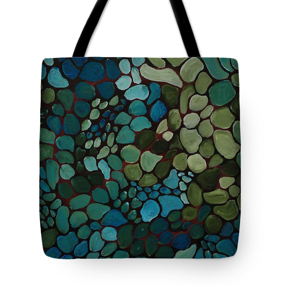 Blue Tote Bag featuring the painting Bluegreenspots by Linda Diane Taylor