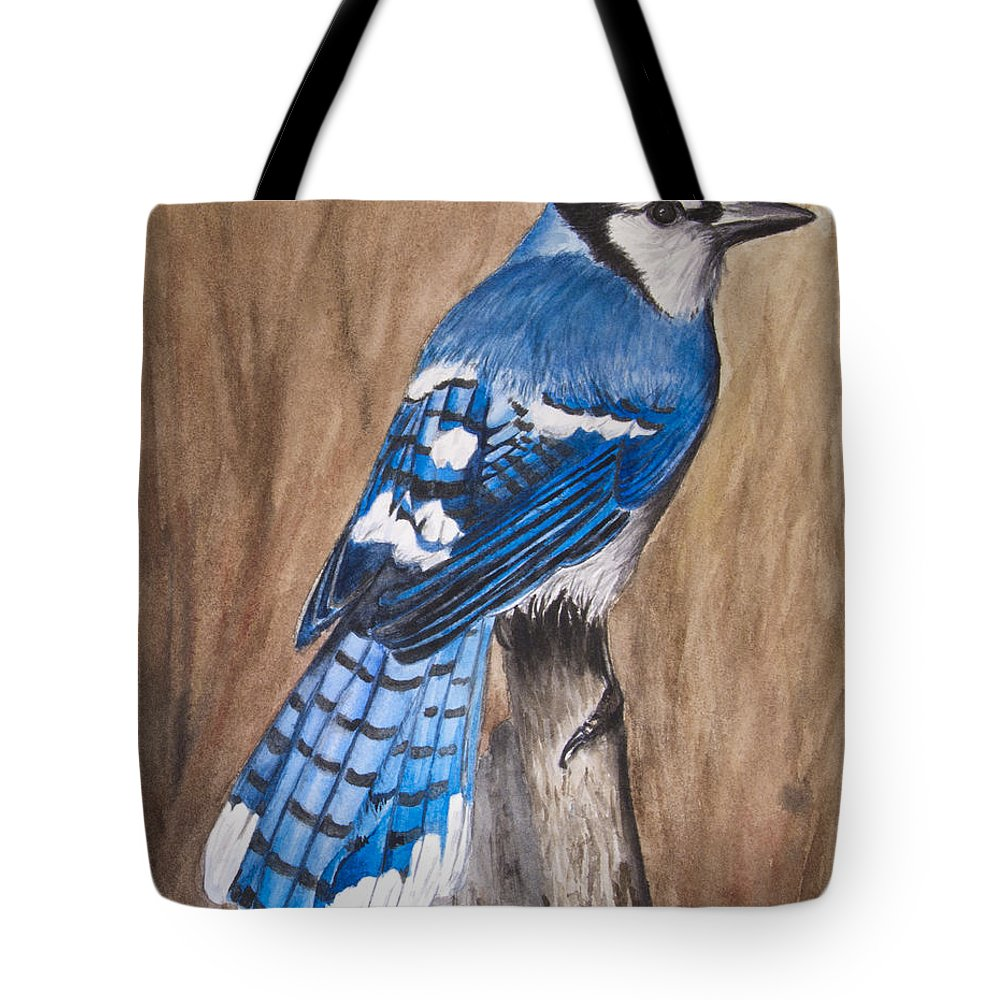 Bluejay Tote Bag featuring the painting Bluejay by Angela Johnson