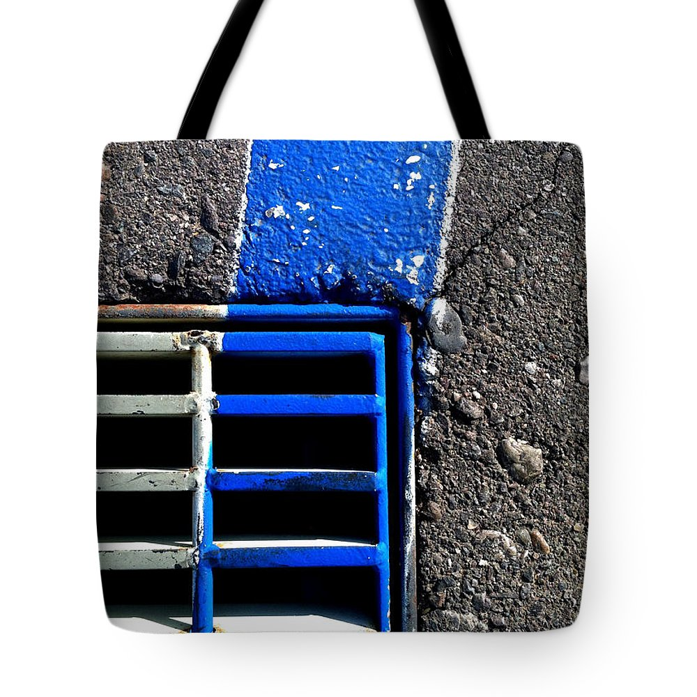 Marlene Burns Tote Bag featuring the photograph Bluer Sewer Four by Marlene Burns