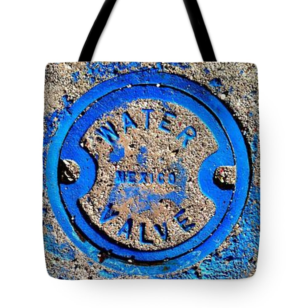 Marlene Burns Tote Bag featuring the photograph Bluer Sewer Triptych by Marlene Burns