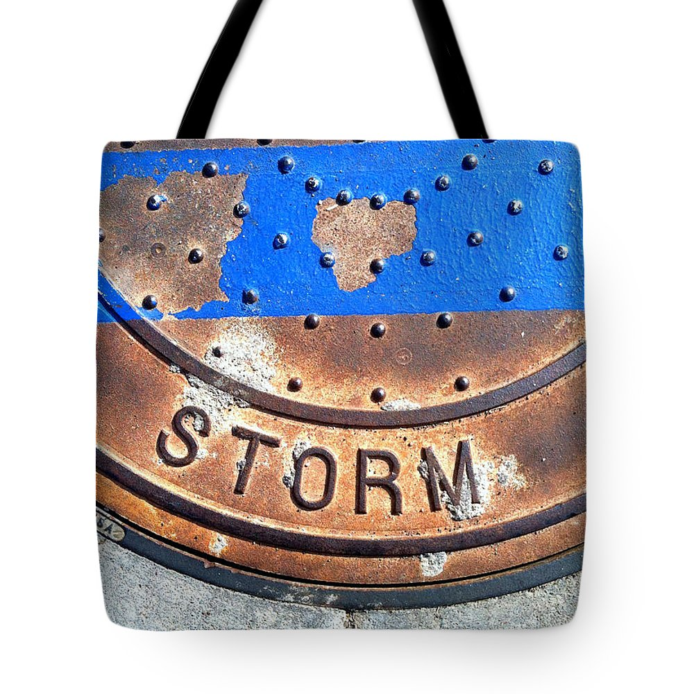 Marlene Burns Tote Bag featuring the photograph Bluer Sewer Two by Marlene Burns