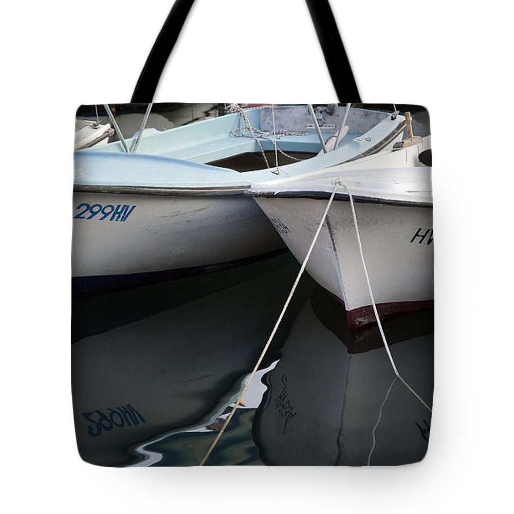 Boat Tote Bag featuring the photograph Boat Reflections In Hvar by Madeline Ellis