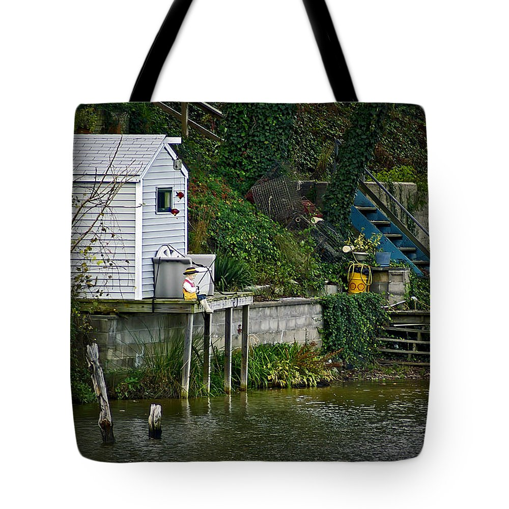 2d Tote Bag featuring the photograph Boathouse Boy Fishing by Brian Wallace