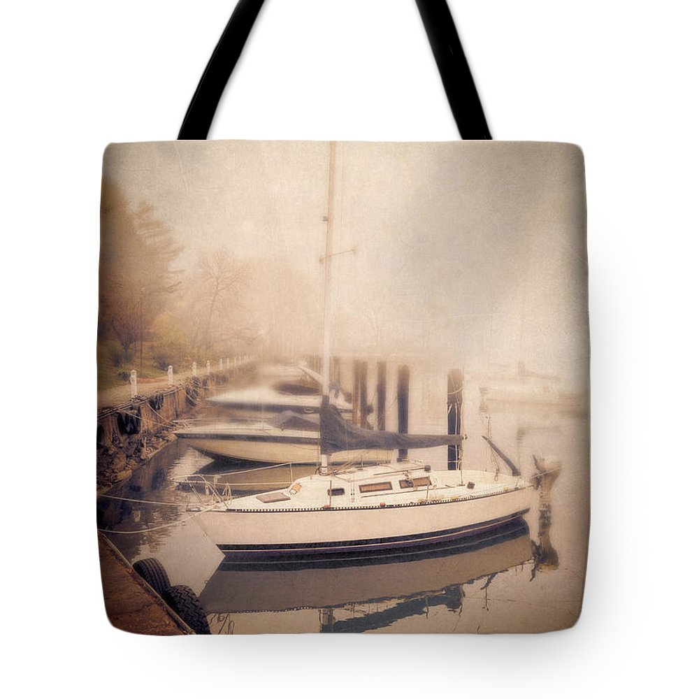 Ship Tote Bag featuring the photograph Boats In Foggy Harbor by Jill Battaglia