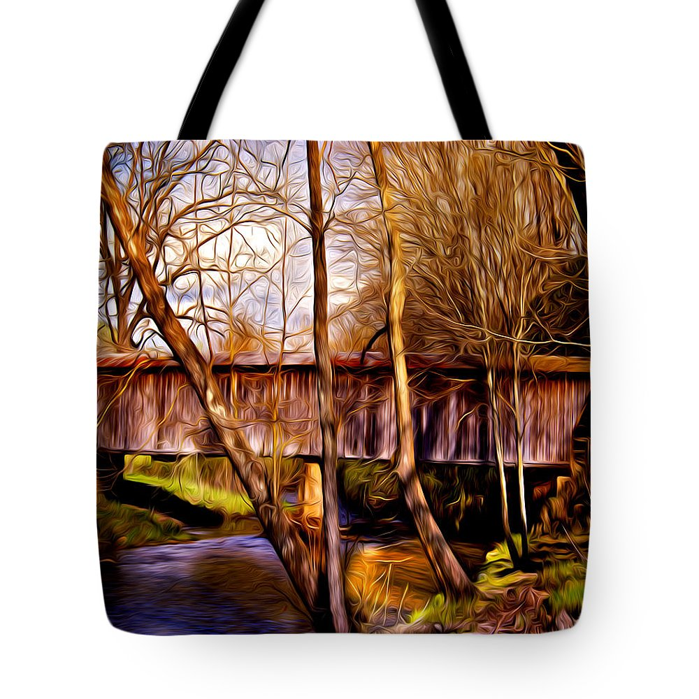 Bob White Covered Bridge Tote Bag featuring the photograph Bob White Covered Bridge by Lisa and Norman Hall