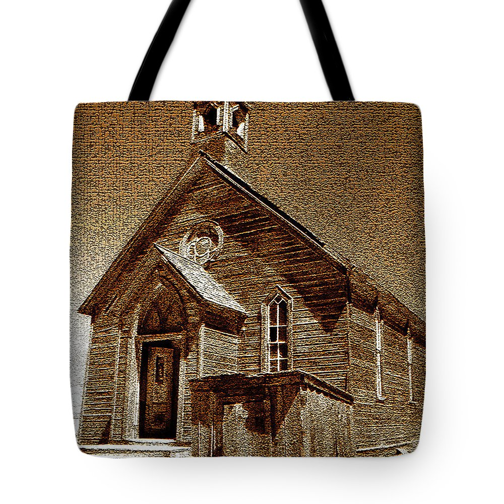 Fine Art Photography Tote Bag featuring the photograph Bodie Church by David Lee Thompson
