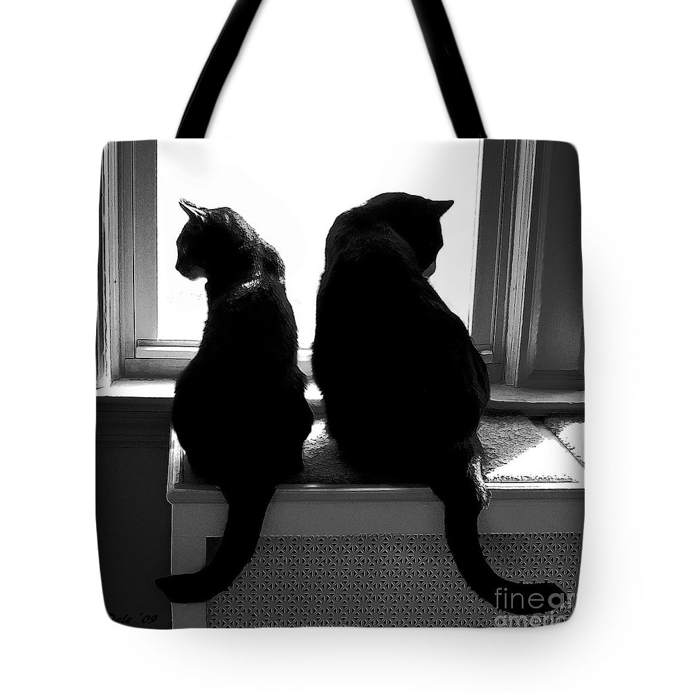 Cats Tote Bag featuring the digital art Bookends by Dale  Ford