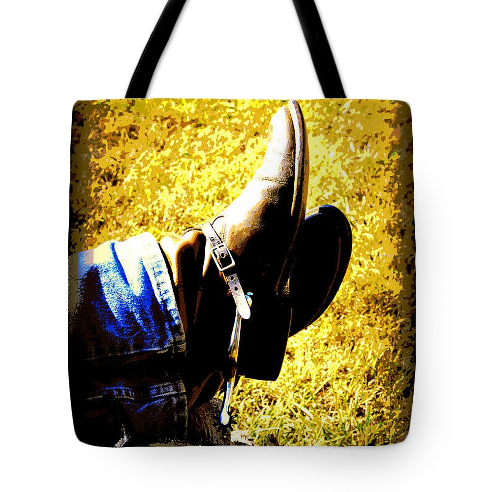 Boots Tote Bag featuring the digital art Boots1 by Tina Meador