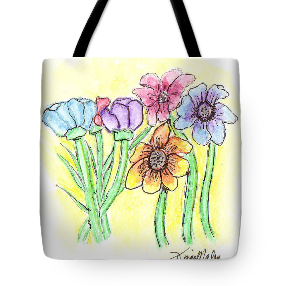 Flowers Tote Bag featuring the mixed media Boquet by Diane Maley
