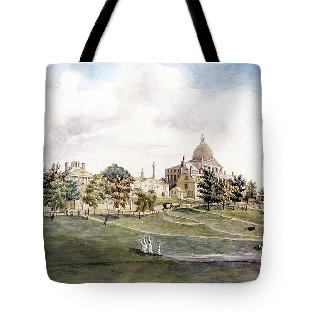 1809 Tote Bag featuring the photograph Boston: Beacon Street by Granger