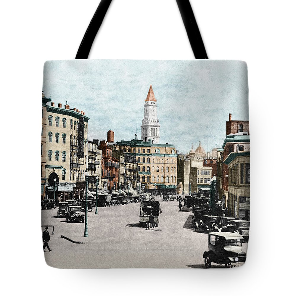 1919 Tote Bag featuring the photograph Boston: Bowdoin Square by Granger
