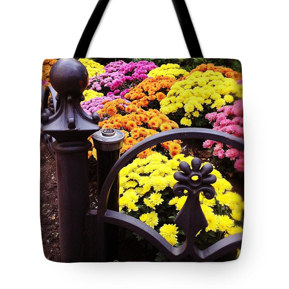 Tote Bag featuring the photograph Boston Flowers by Mark Valentine