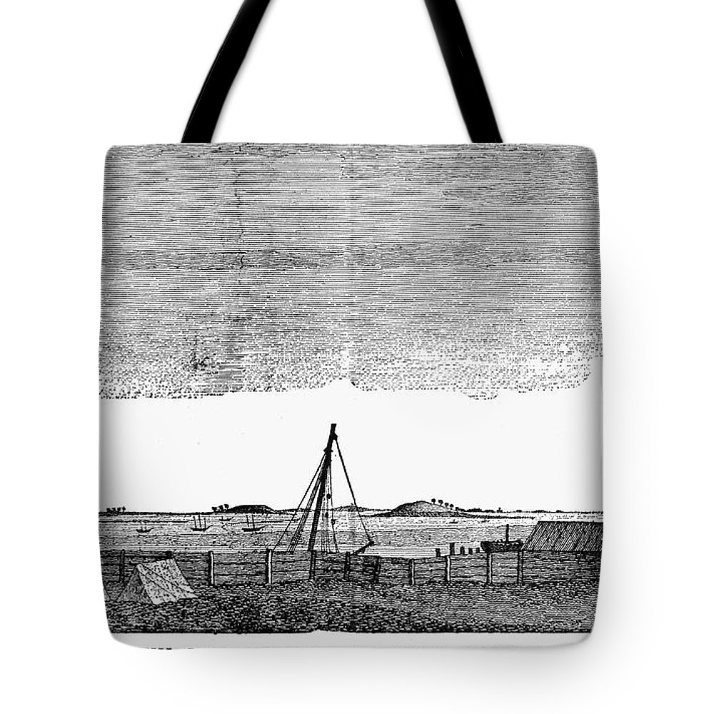 1776 Tote Bag featuring the photograph Boston Harbor, 1776 by Granger