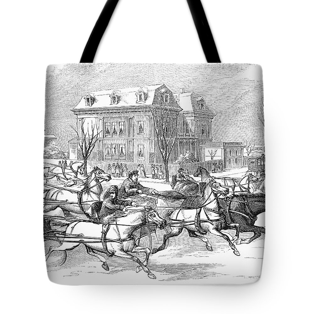 1854 Tote Bag featuring the photograph Boston: Sleighing, 1854 by Granger
