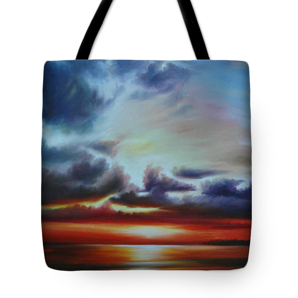 Bright Clouds Tote Bag featuring the painting Botany Bay Sunrise by James Christopher Hill