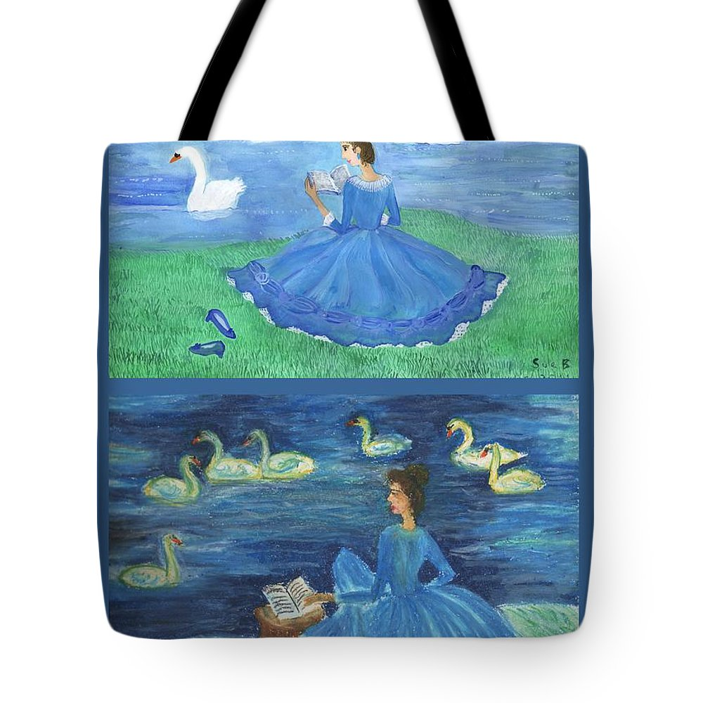 Swans Tote Bag featuring the painting Both Swan Lake Readers by Sushila Burgess