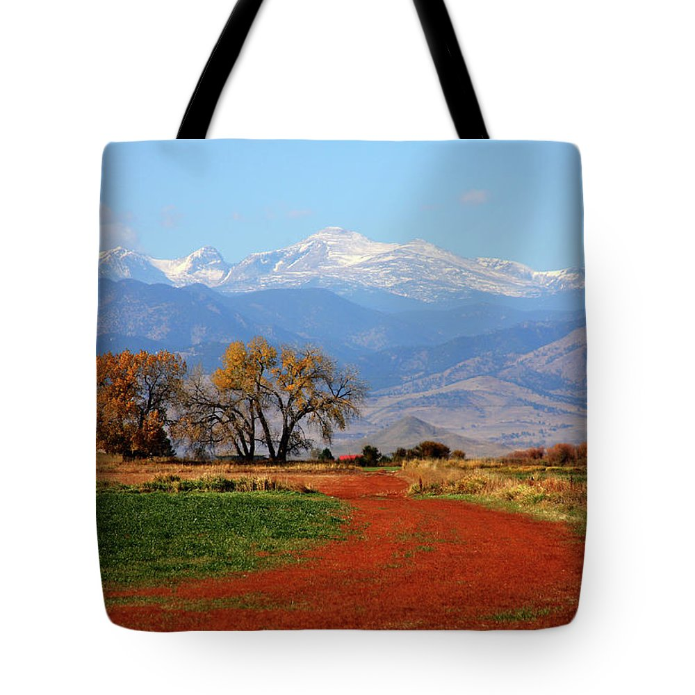 Boulder Tote Bag featuring the photograph Boulder County Colorado Landscape Red Road Autumn View by James BO Insogna