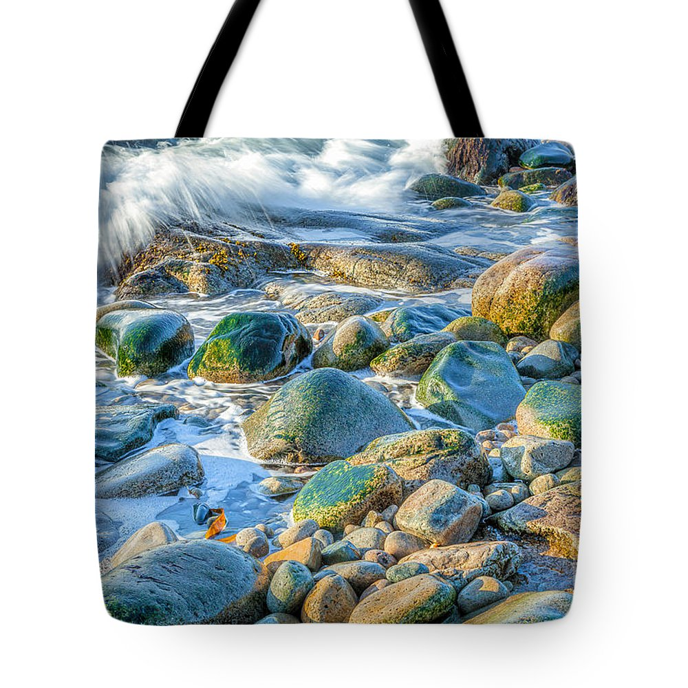Acadia National Park Tote Bag featuring the photograph Boulder Splash by Susan Cole Kelly