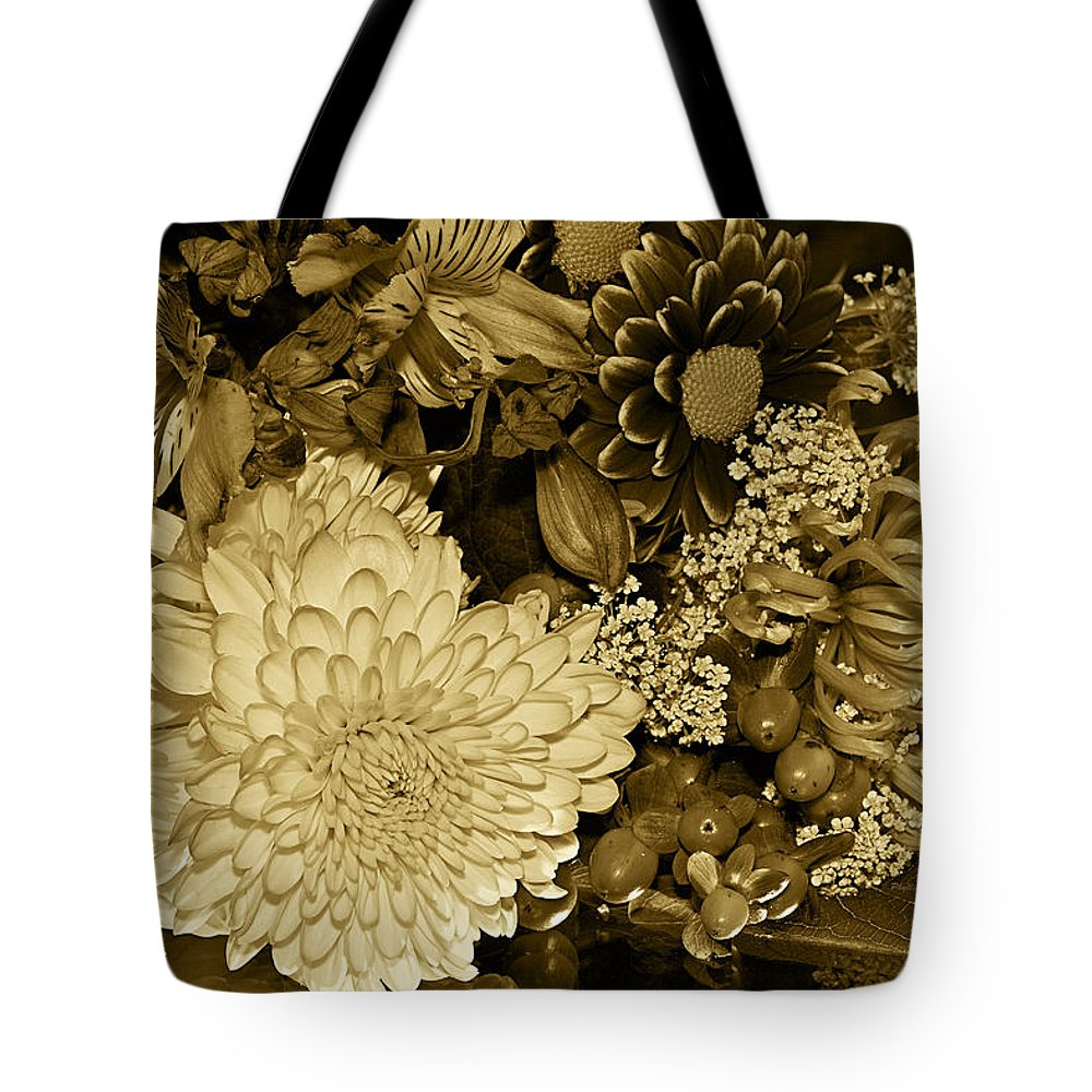 Flowers Tote Bag featuring the photograph Bouquet In Sepia by Phyllis Denton