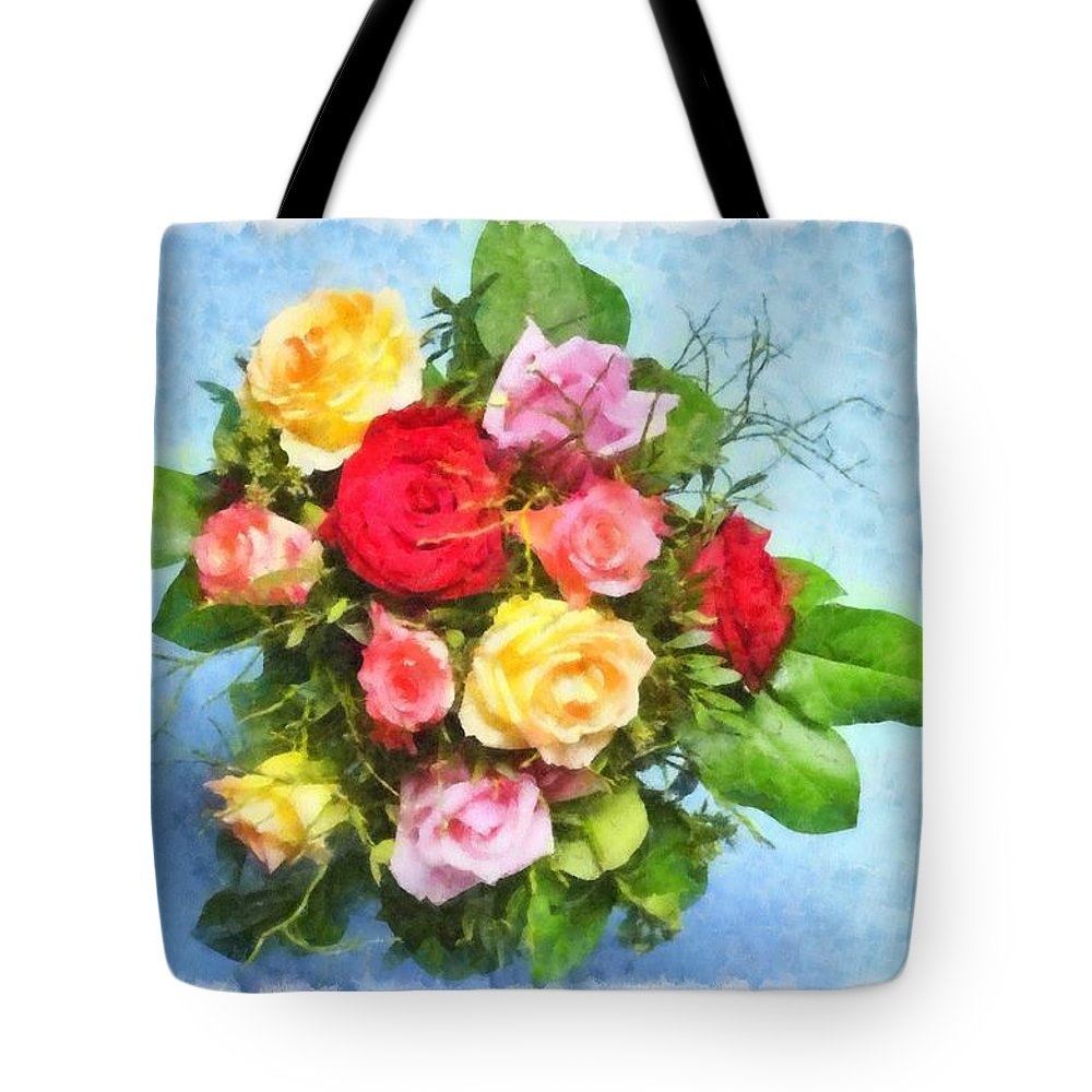 Flowers Tote Bag featuring the digital art Bouquet Of Colorful Flowers - Digital Watercolor Painting by Matthias Hauser