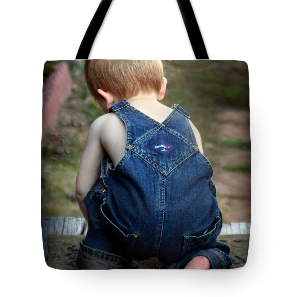 Boy Tote Bag featuring the photograph Boy In Overalls by Kelly Hazel