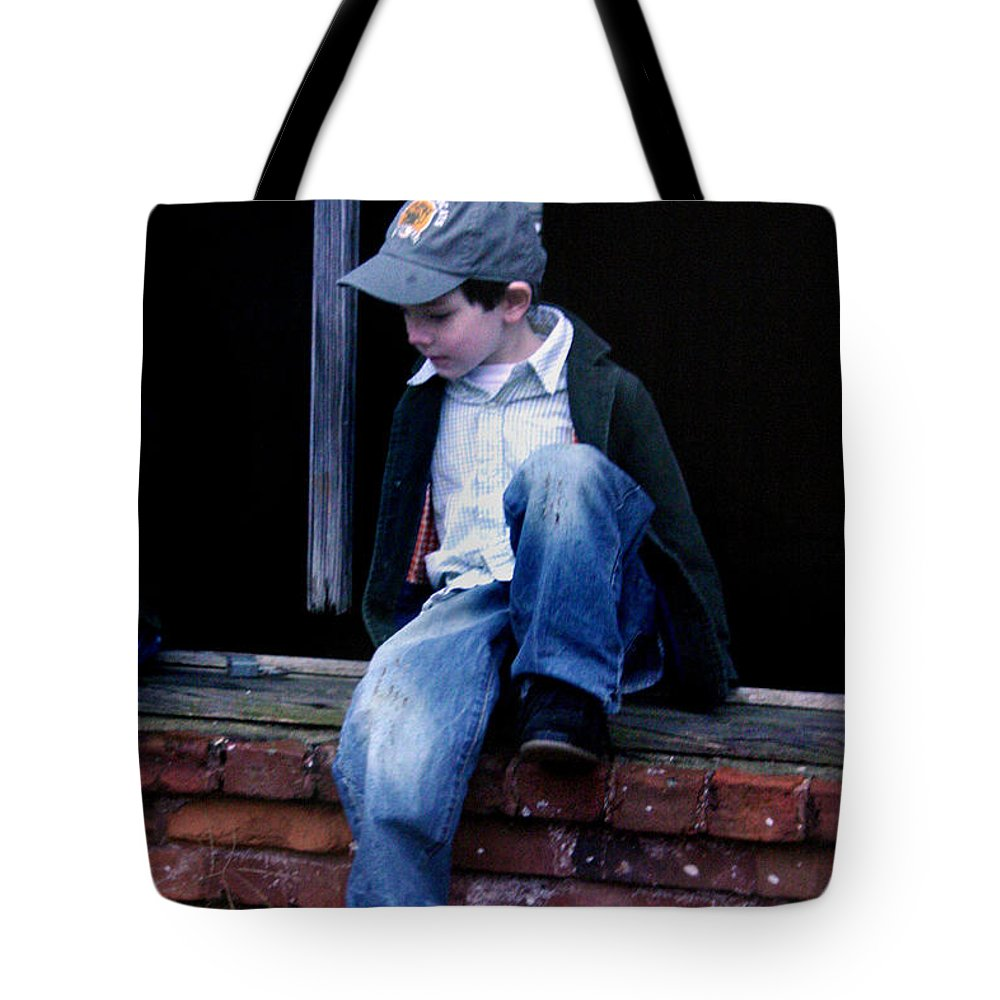 Mischief Tote Bag featuring the photograph Boy In Window by Kelly Hazel