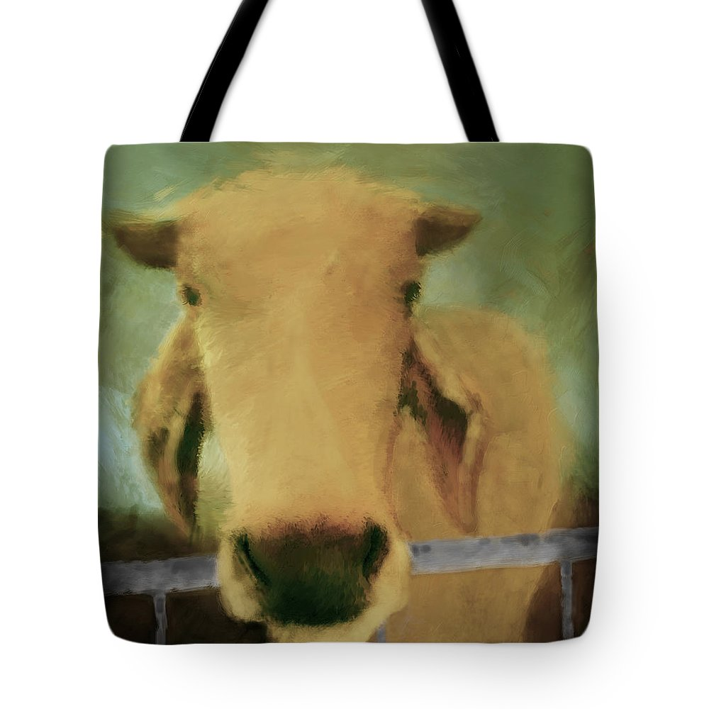 Cow Tote Bag featuring the digital art Brahma Cow Greeting by Ann Powell