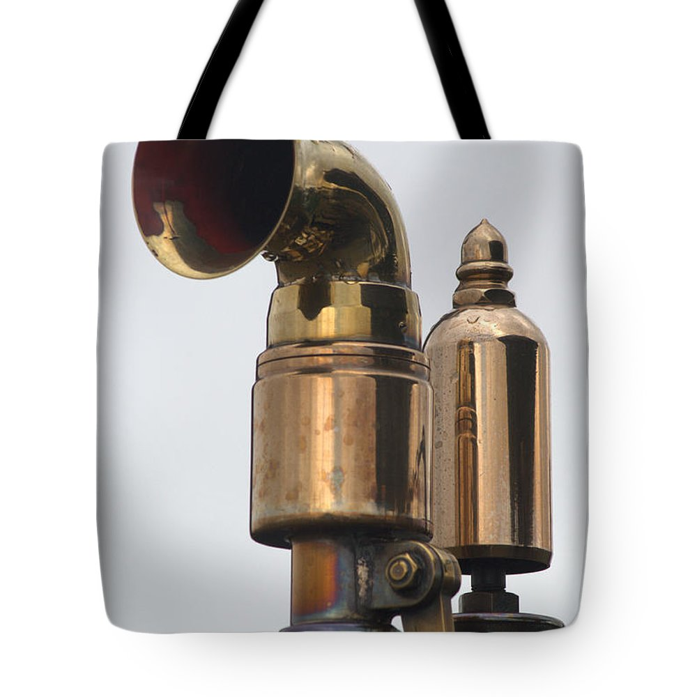 Brass Tote Bag featuring the photograph Brass Horn by Chris Day