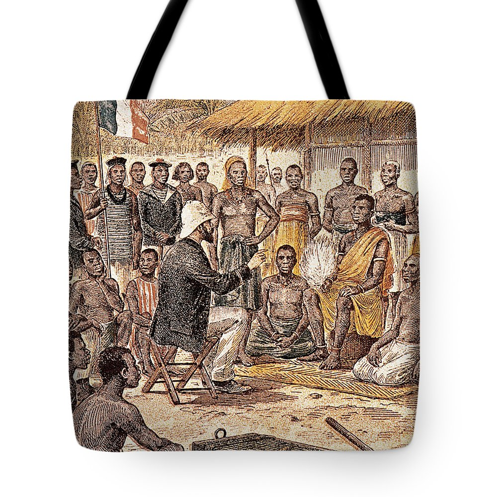 1880 Tote Bag featuring the photograph Brazza In Africa, 1880 by Granger