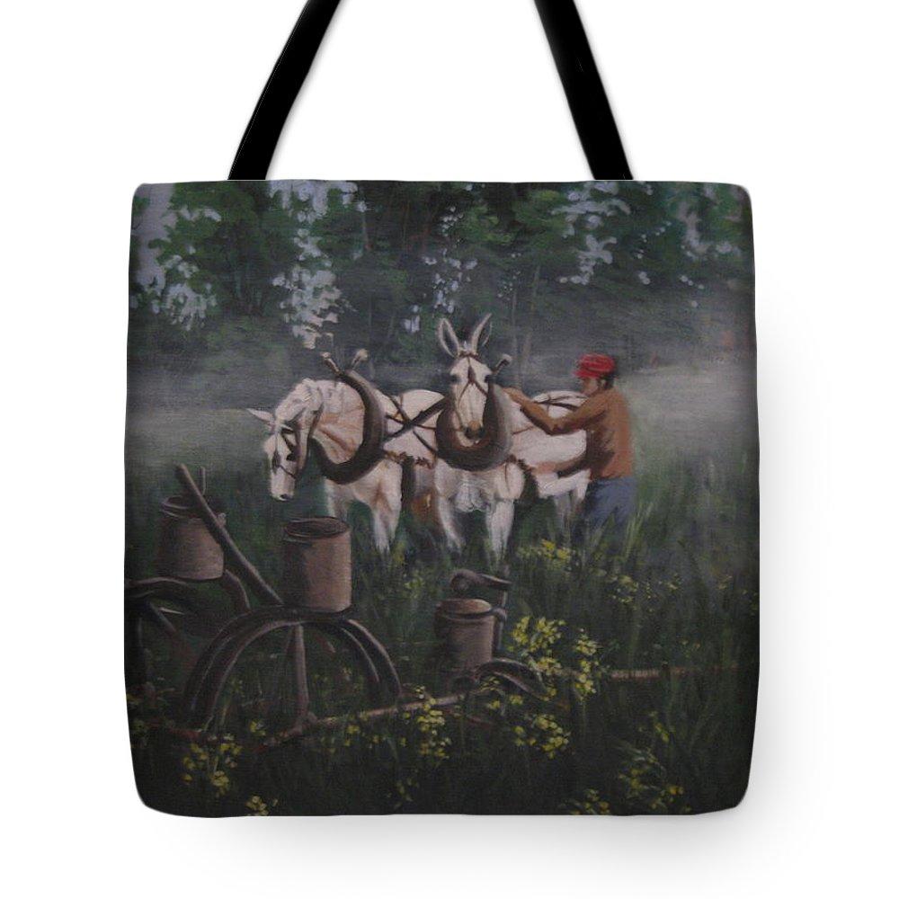 Mules Tote Bag featuring the painting Break Of Dawn by Barbara Prestridge