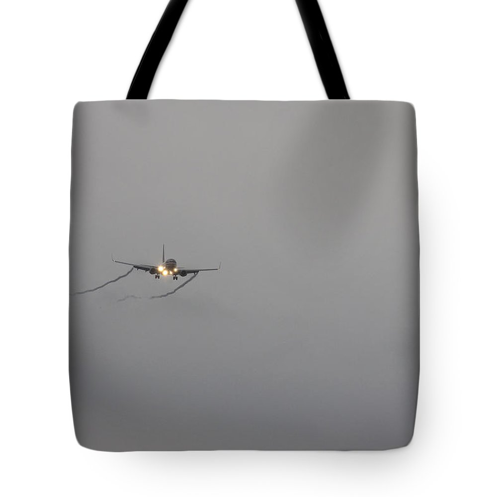 American Airlines-the Boeing 7 Series Tote Bag featuring the photograph Breaking Through The Cloud by Douglas Barnard