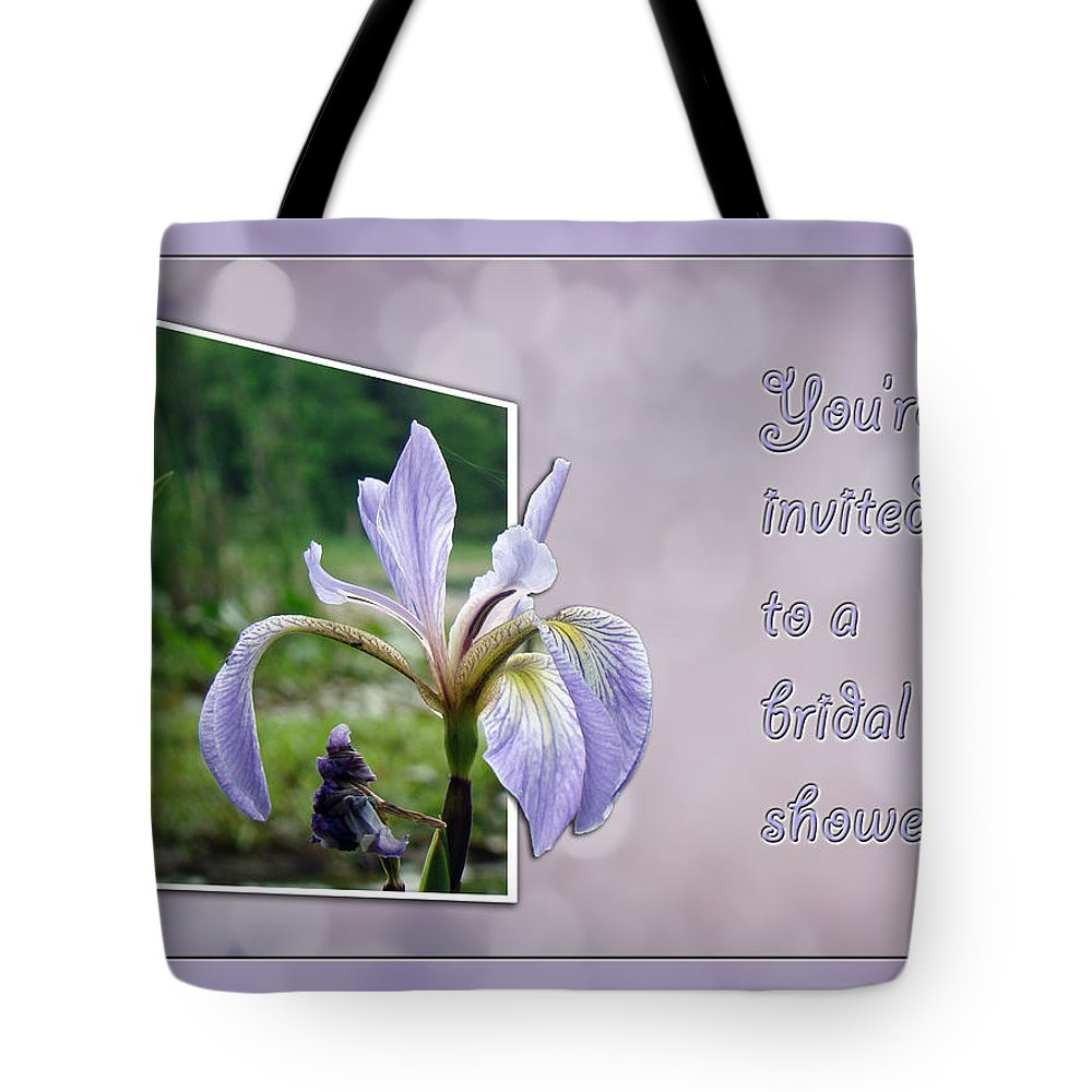 Bridal Tote Bag featuring the photograph Bridal Shower Invitation - Blue Flag Iris Wildflower by Mother Nature