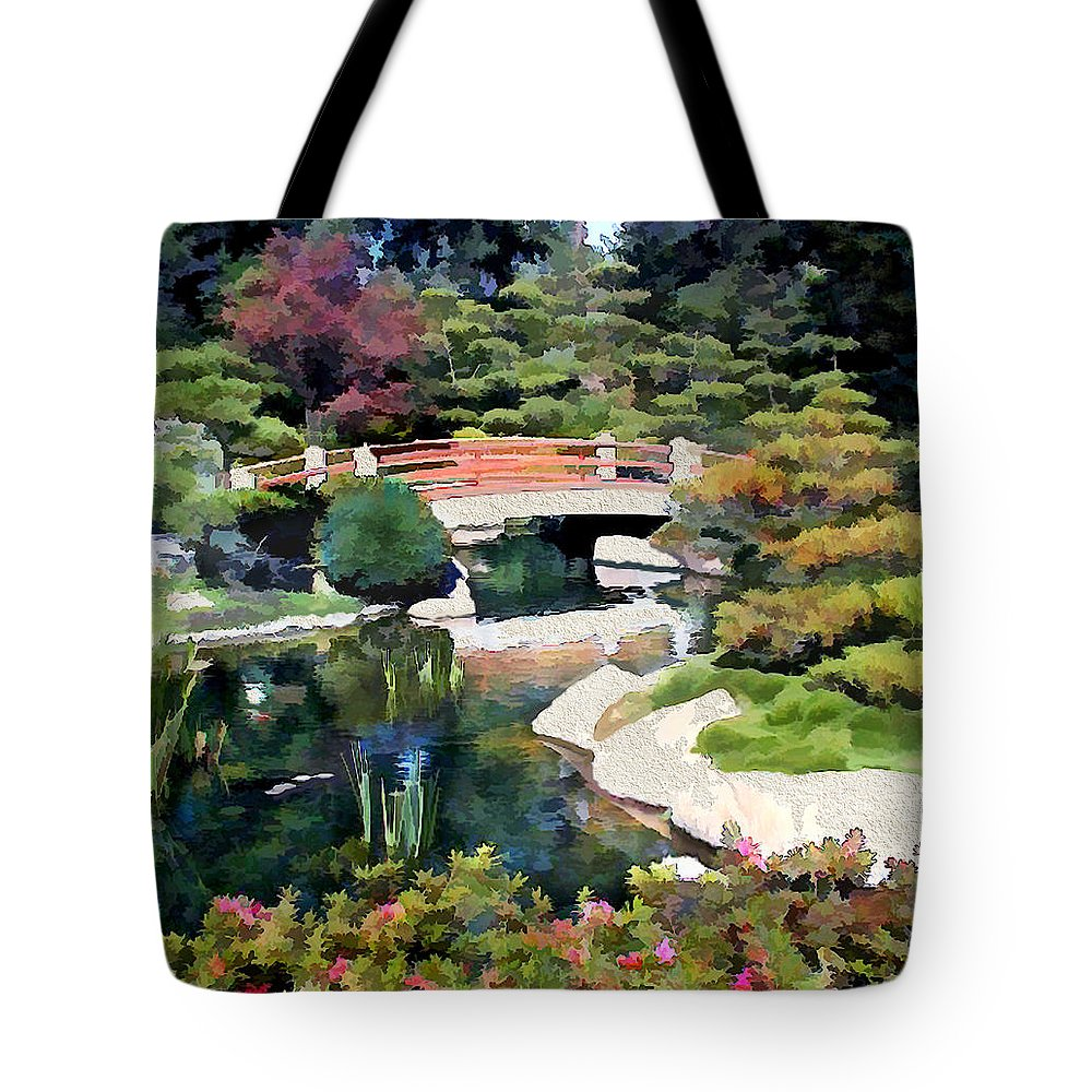 Japanese Garden Tote Bag featuring the painting Bridge In Japanese Garden by Elaine Plesser
