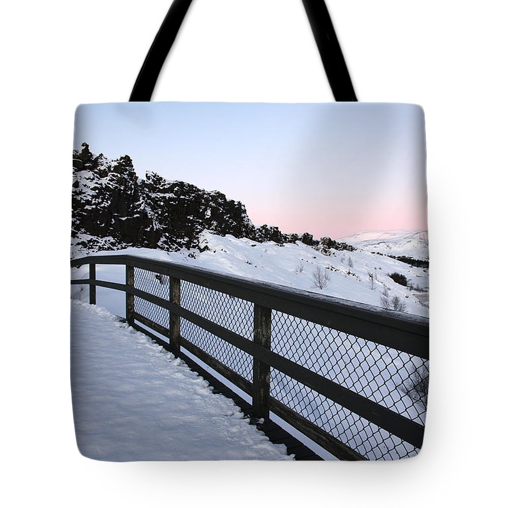 Iceland Tote Bag featuring the photograph Bridge by Milena Boeva