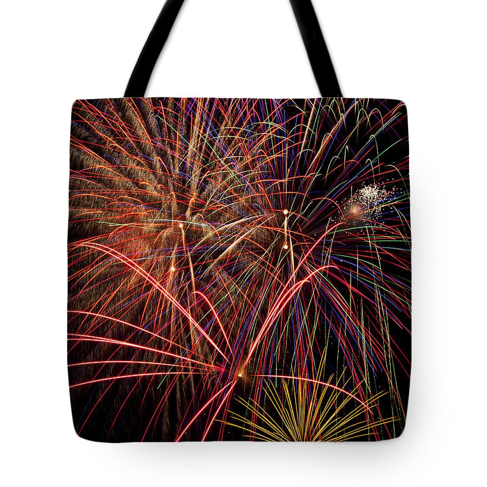 Fireworks 4th Of July Tote Bag featuring the photograph Bright Colorful Fireworks by Garry Gay