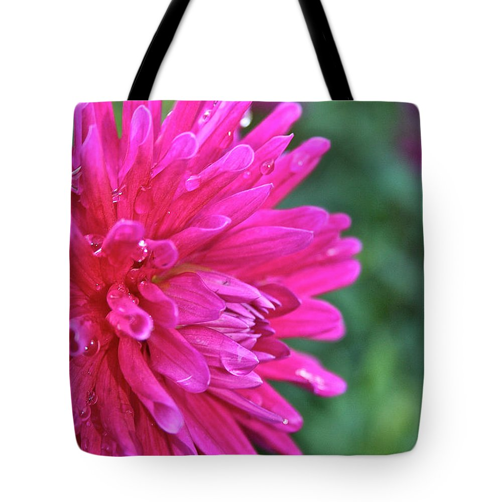 Flower Tote Bag featuring the photograph Bright Pink Dahlia by Susan Herber