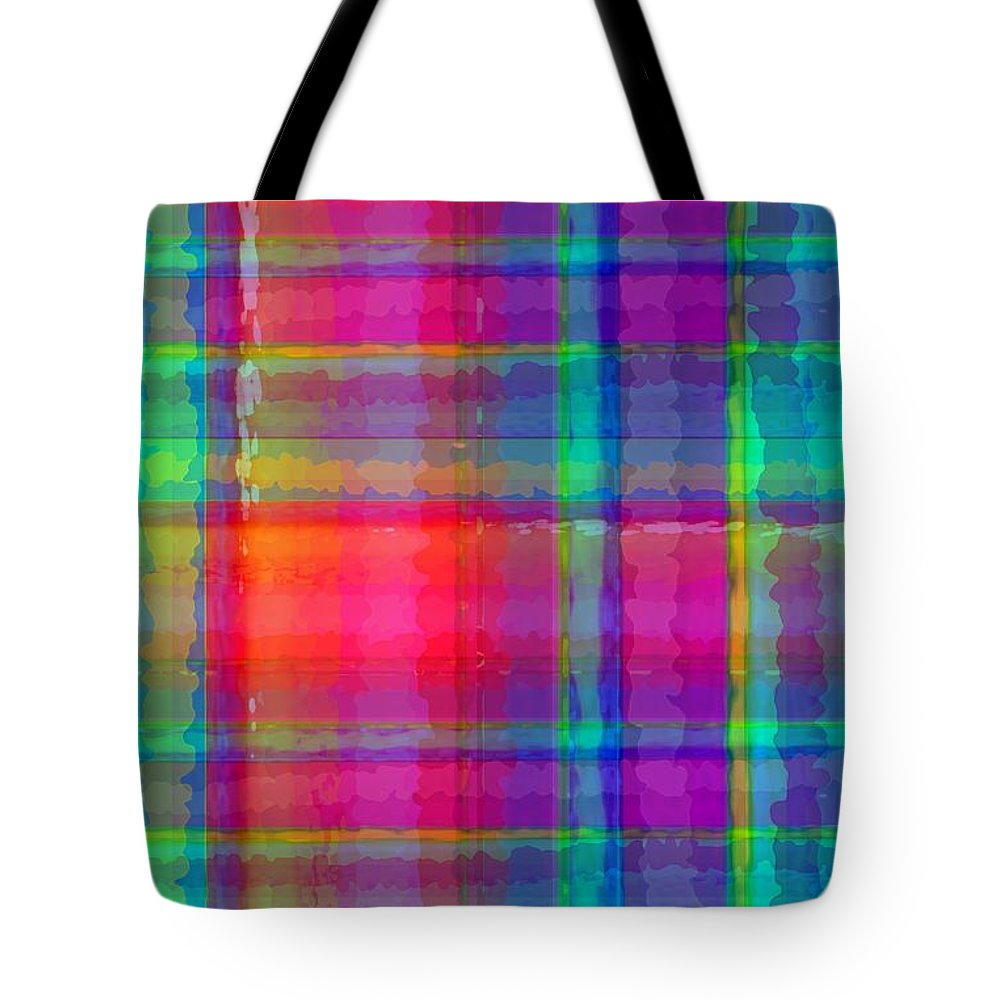Bright Plaid (digital) By Louisa Knight (contemporary Artist) Tote Bag featuring the digital art Bright Plaid by Louisa Knight