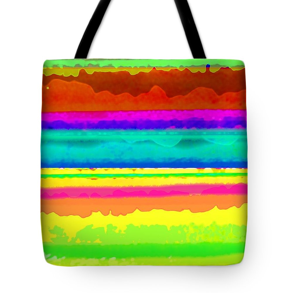 Bright Stripe (digital) By Louisa Knight (contemporary Artist) Tote Bag featuring the digital art Bright Stripe by Louisa Knight