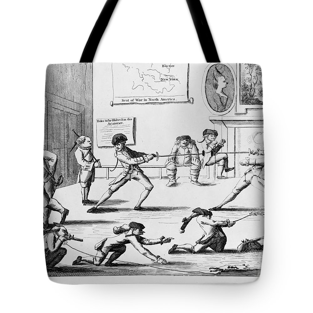 1770s Tote Bag featuring the photograph British Officers: Cartoon. English Cartoon Satire, 1777, On The Want Of Training Of British Officers To Prepare Them For The American War by Granger