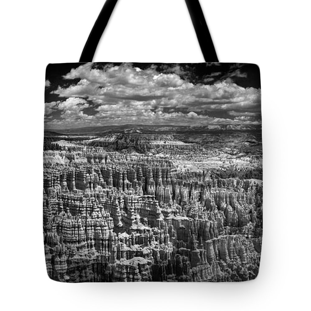 Bryce Tote Bag featuring the photograph Bryce Canyon - Black And White by Larry Carr