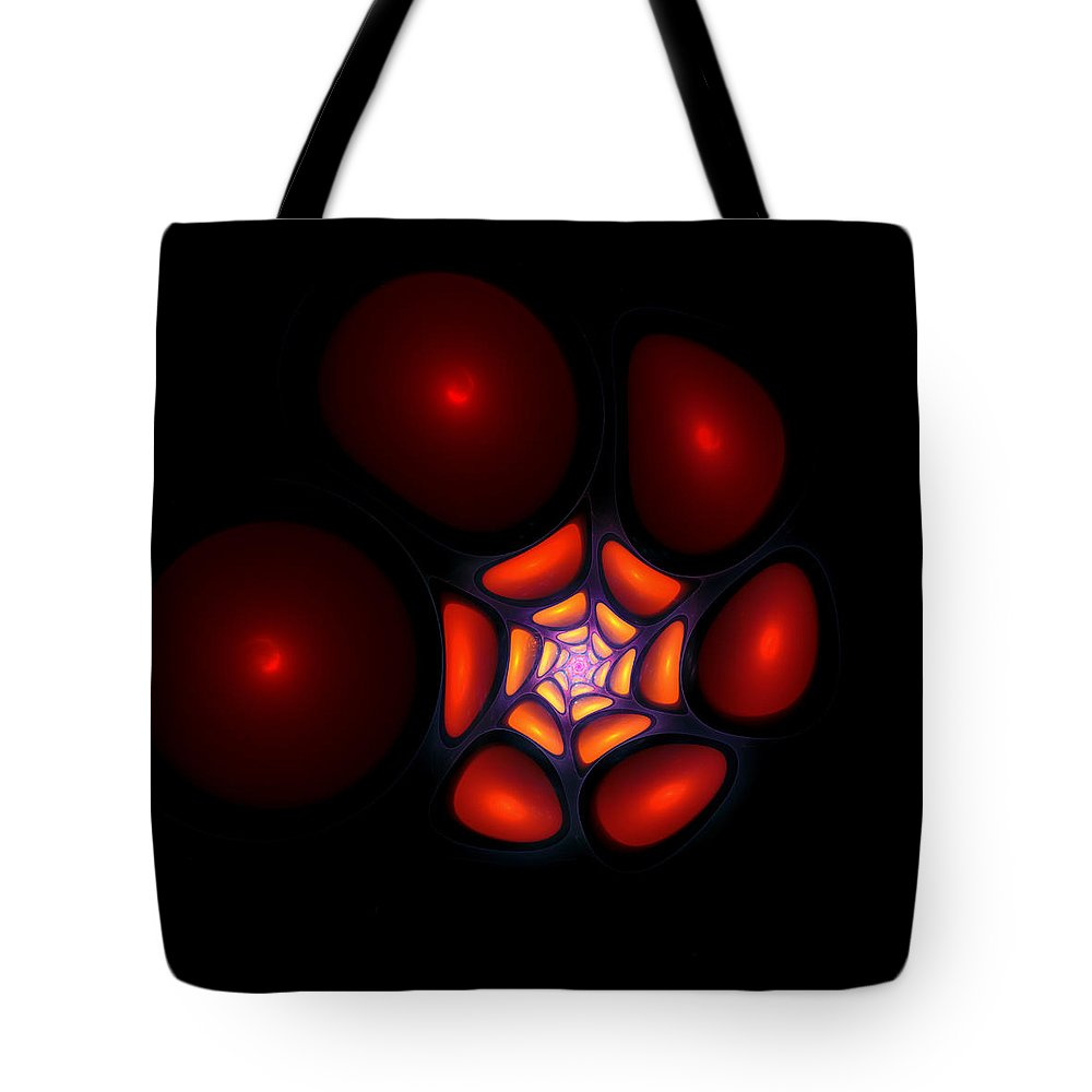 Bubble Art Fractal Digital Red Color Colorful Abstract Expressionism Impressionism Orange Yellow Design Tote Bag featuring the digital art Bubble Art 1 by Steve K