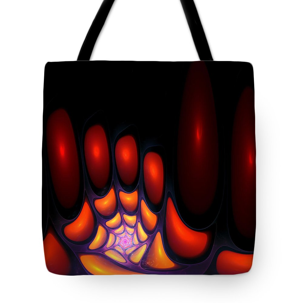 Bubble Art Fractal Digital Red Color Colorful Abstract Expressionism Impressionism Orange Yellow Design Tote Bag featuring the digital art Bubble Art 2 by Steve K