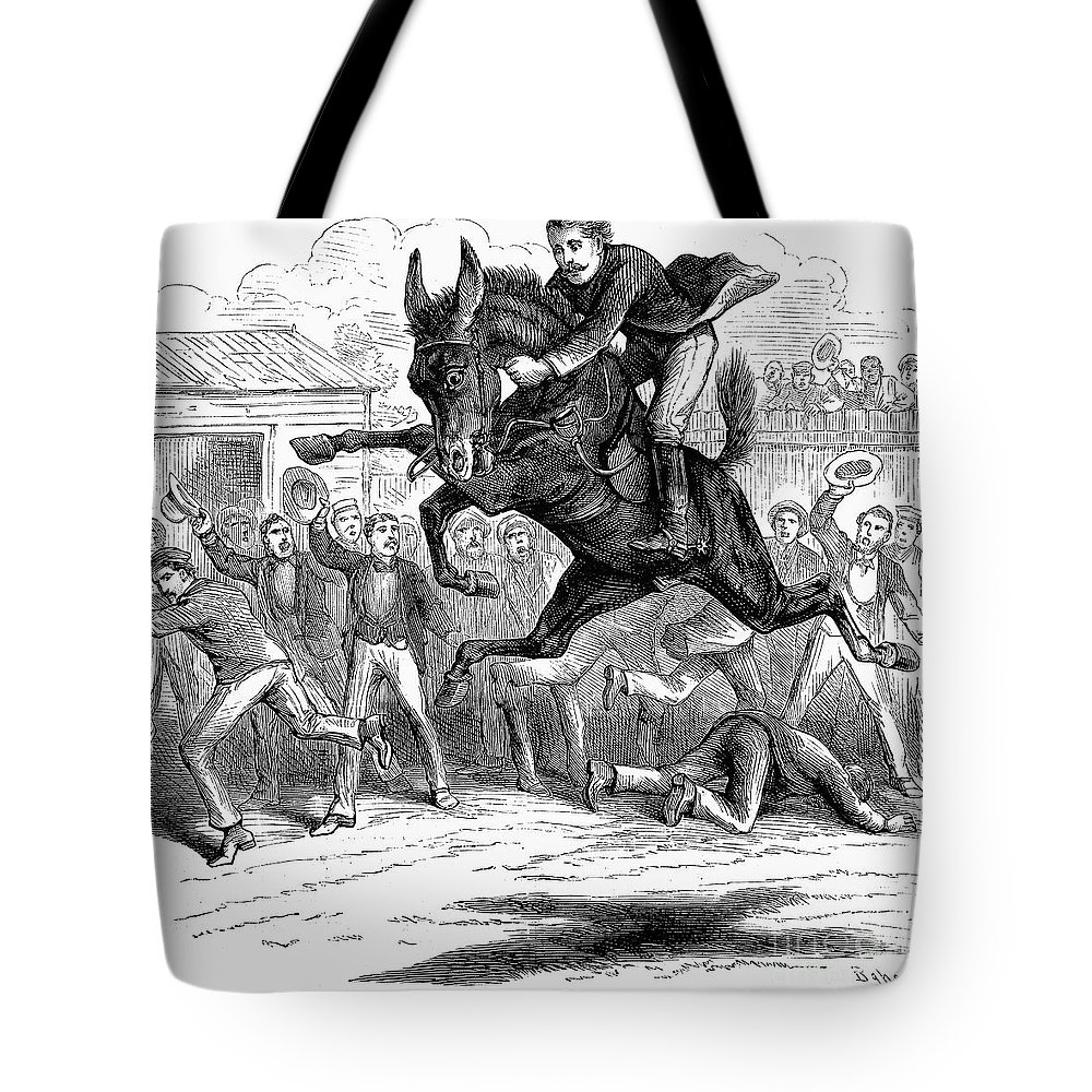 1879 Tote Bag featuring the photograph Bucking Mule, 1879 by Granger