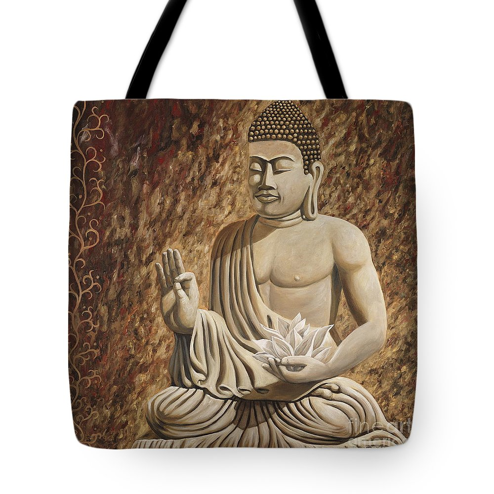Buddah Tote Bag featuring the painting Buddah Bliss by Danielle Perry