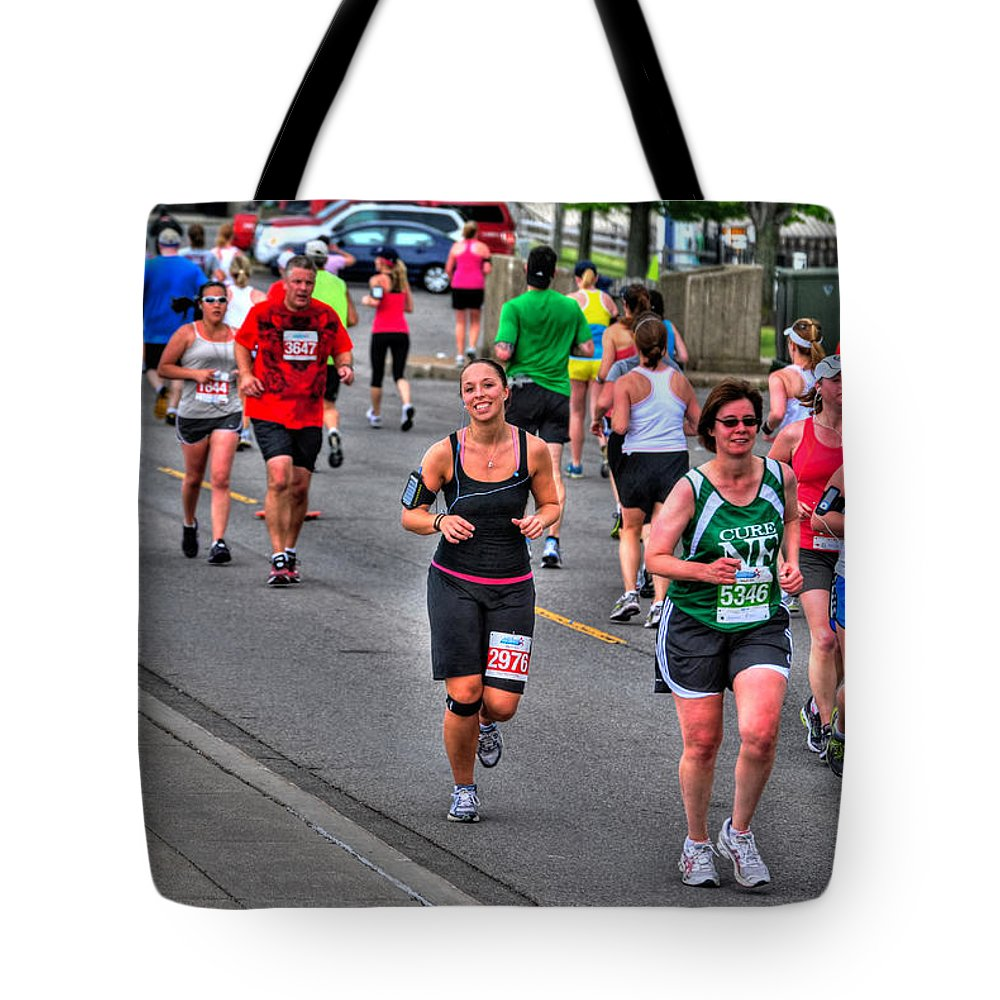Tote Bag featuring the photograph Buffalo Marathon 2012 Dm by Michael Frank Jr