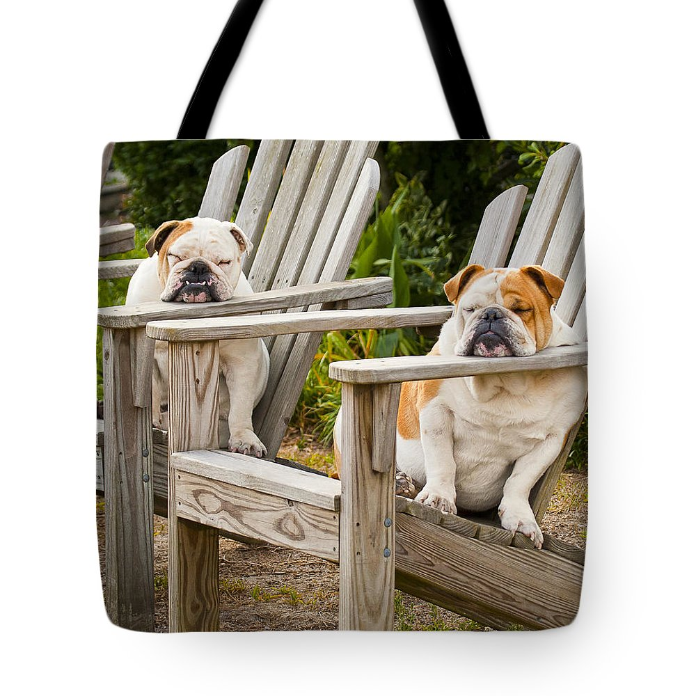 Bulldogs Tote Bag featuring the photograph Bulldogs Relaxing At The Beach by Bill Swindaman