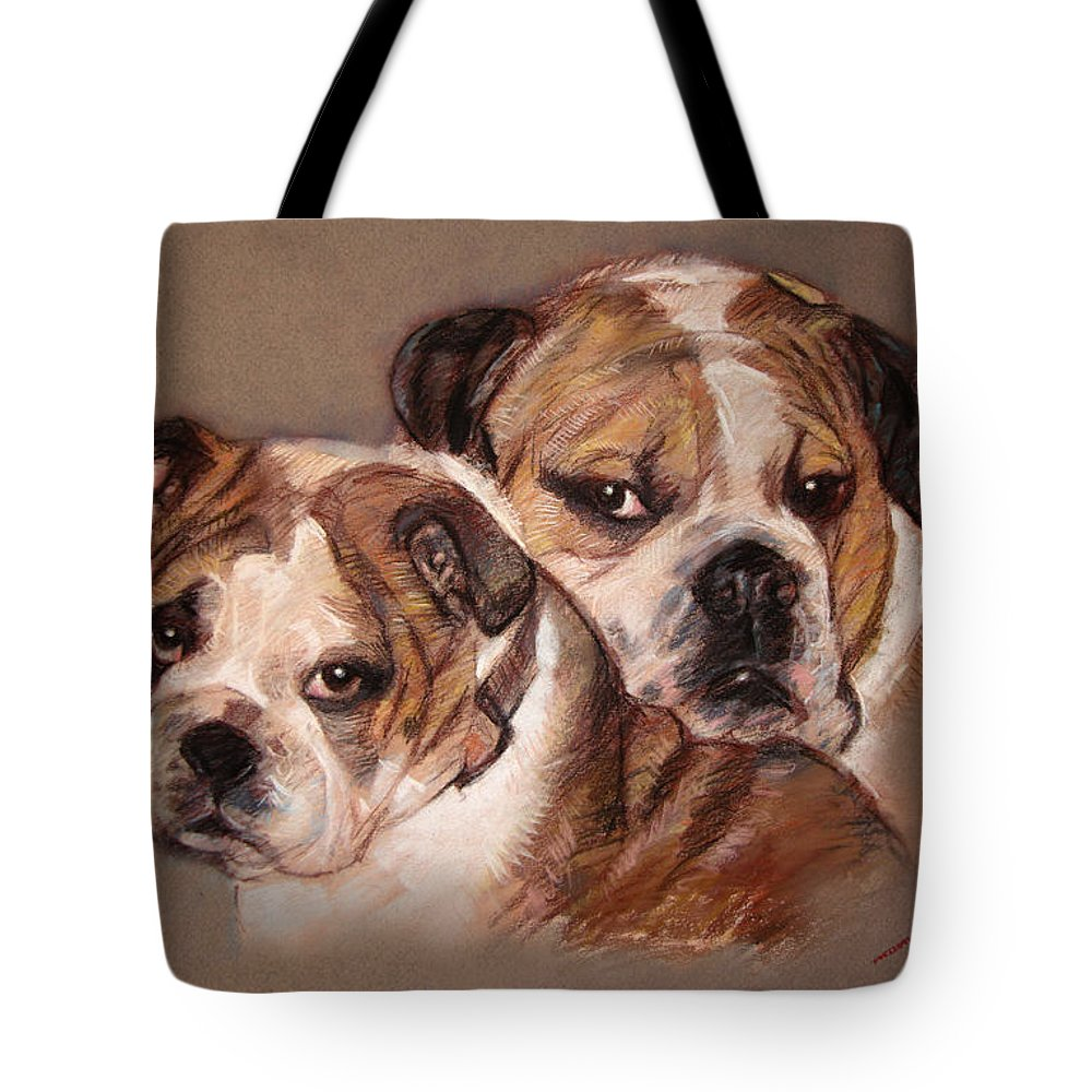 Bulldogs Tote Bag featuring the pastel Bulldogs by Ylli Haruni
