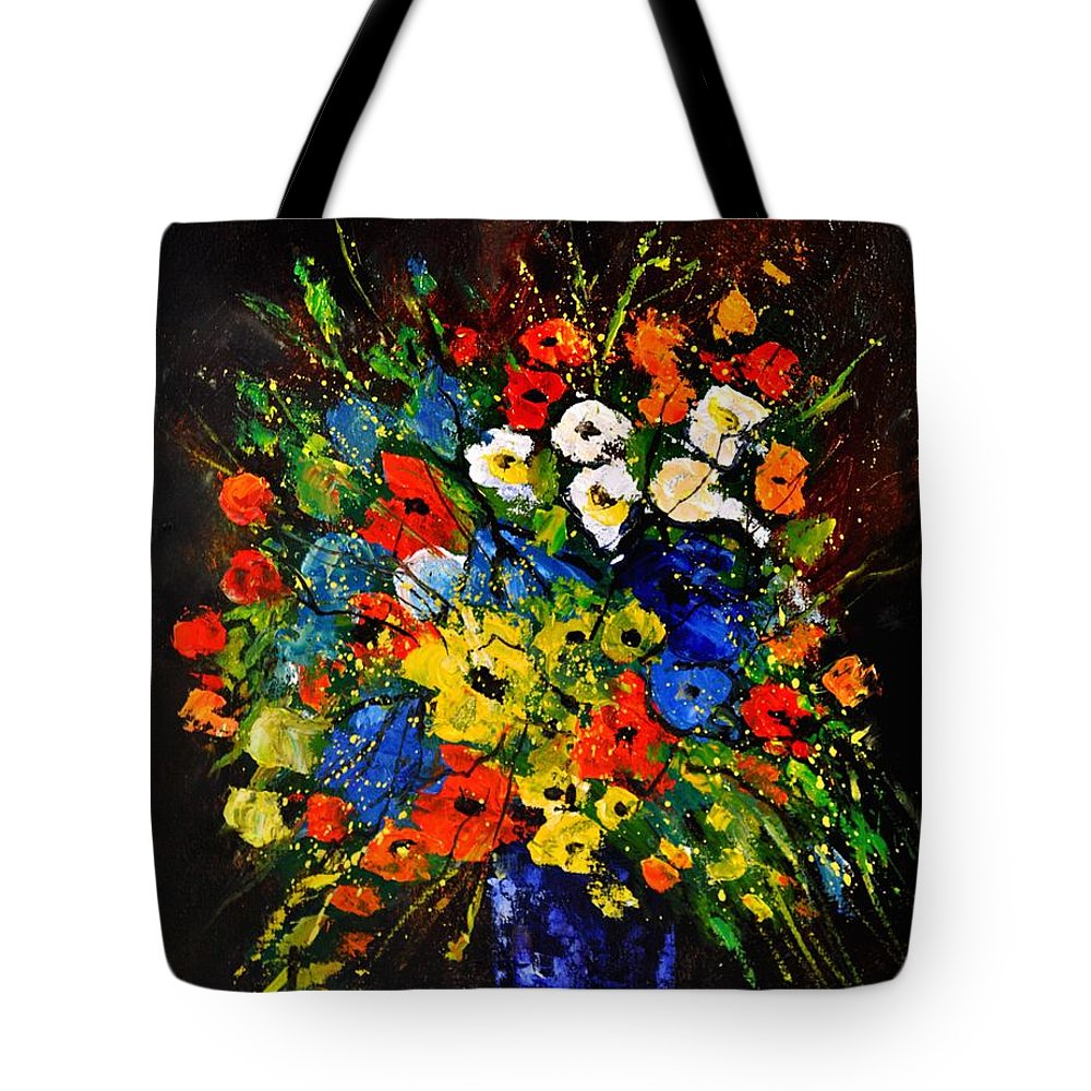 Flowers Tote Bag featuring the painting Bunch 451190 by Pol Ledent